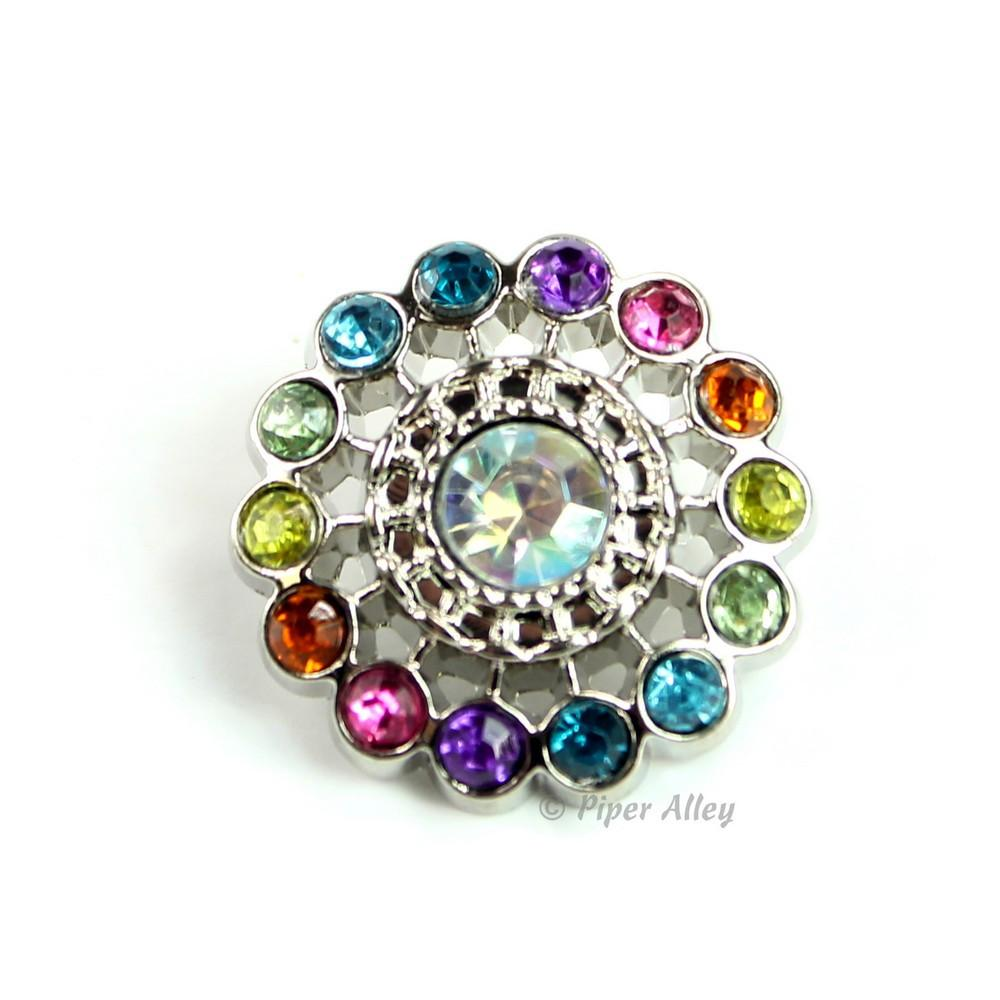 Pinwheel 21mm Rhinestone Button Rainbow