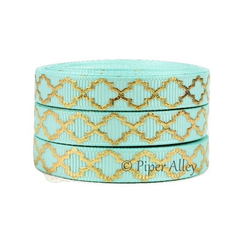 "Aqua 3/8"" Ribbon Mettalic Gold Quatrefoil 5 yards"