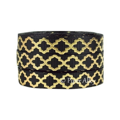 "Black 3/8"" Ribbon Mettalic Gold Quatrefoil 5 yards"