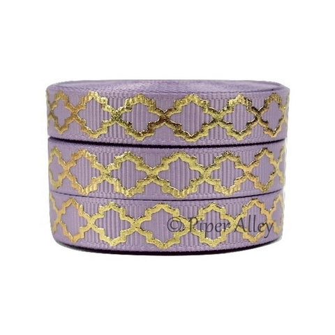 "Fresco Purple 3/8"" Ribbon Mettalic Gold Quatrefoil 5 yards"