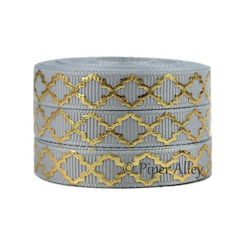 "Silver 3/8"" Ribbon Mettalic Gold Quatrefoil 5 yards"