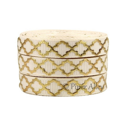 "Ivory 3/8"" Ribbon Mettalic Gold Quatrefoil 5 yards"
