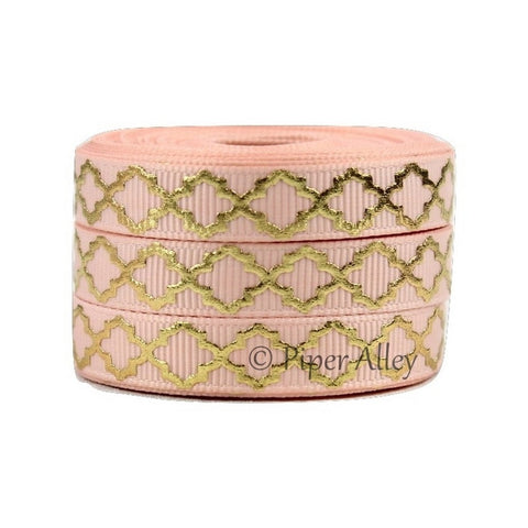 "Moonstone 3/8"" Ribbon Mettalic Gold Quatrefoil 5 yards"