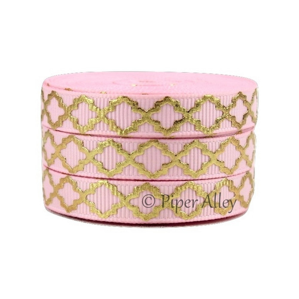 "Pearl Pink 3/8"" Ribbon Mettalic Gold Quatrefoil 5 yards"