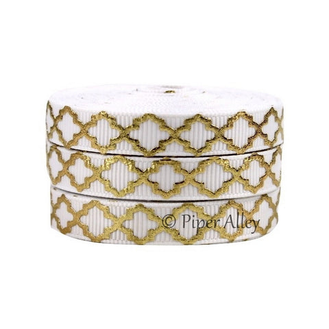 "White 3/8"" Ribbon Mettalic Gold Quatrefoil 5 yards"