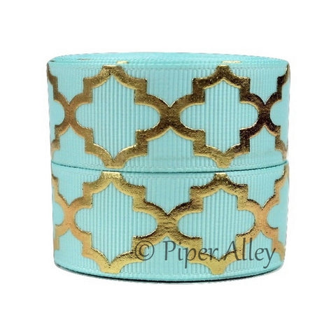 "Aqua 7/8"" Ribbon Metallic Gold Quatrefoil 5 yards"