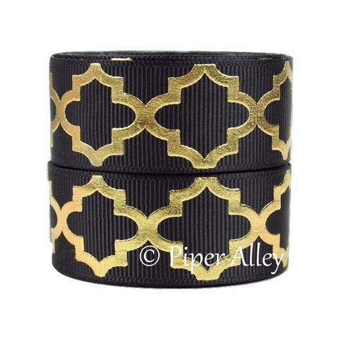 "Black 7/8"" Ribbon Metallic Gold Quatrefoil 5 yards"
