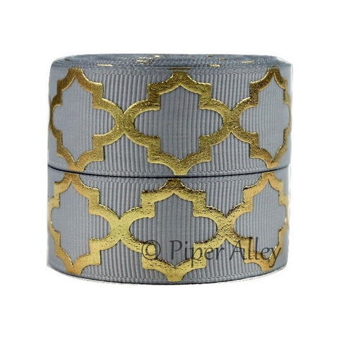 "Silver 7/8"" Ribbon Metallic Gold Quatrefoil 5 yards"