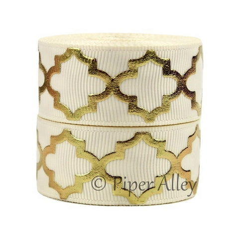 "Ivory 7/8"" Ribbon Metallic Gold Quatrefoil 5 yards"