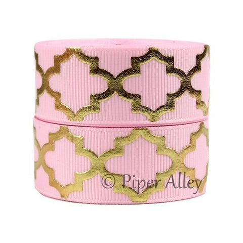 "Pearl Pink 7/8"" Ribbon Metallic Gold Quatrefoil 5 yards"