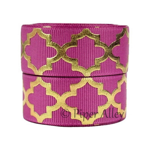 "Raspberry Rose 7/8"" Ribbon Metallic Gold Quatrefoil 5 yards"