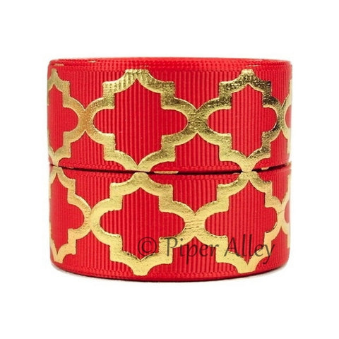 "Red 7/8"" Ribbon Metallic Gold Quatrefoil 5 yards"