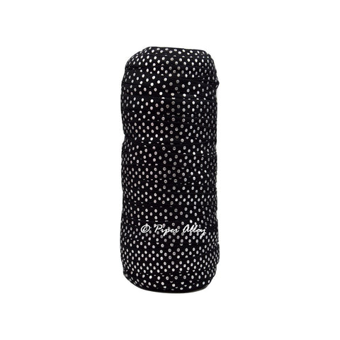 "Black 3/8"" Narrow FOE Metallic Silver Dot 5 yards"
