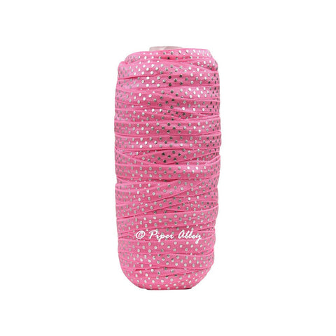 "Hot Pink 3/8"" Narrow FOE Metallic Silver Dot 5 yards"