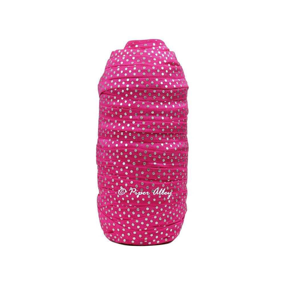 "Shocking Pink 3/8"" Narrow FOE Metallic Silver Dot 5 yards"
