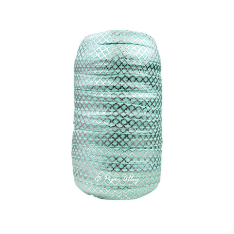 "Aqua 5/8"" FOE Small Metallic Silver Quatrefoil 5 yards"