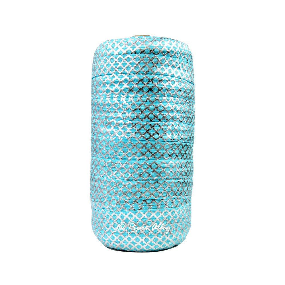 "Turquoise Blue 5/8"" FOE Small Metallic Silver Quatrefoil 5 yards"