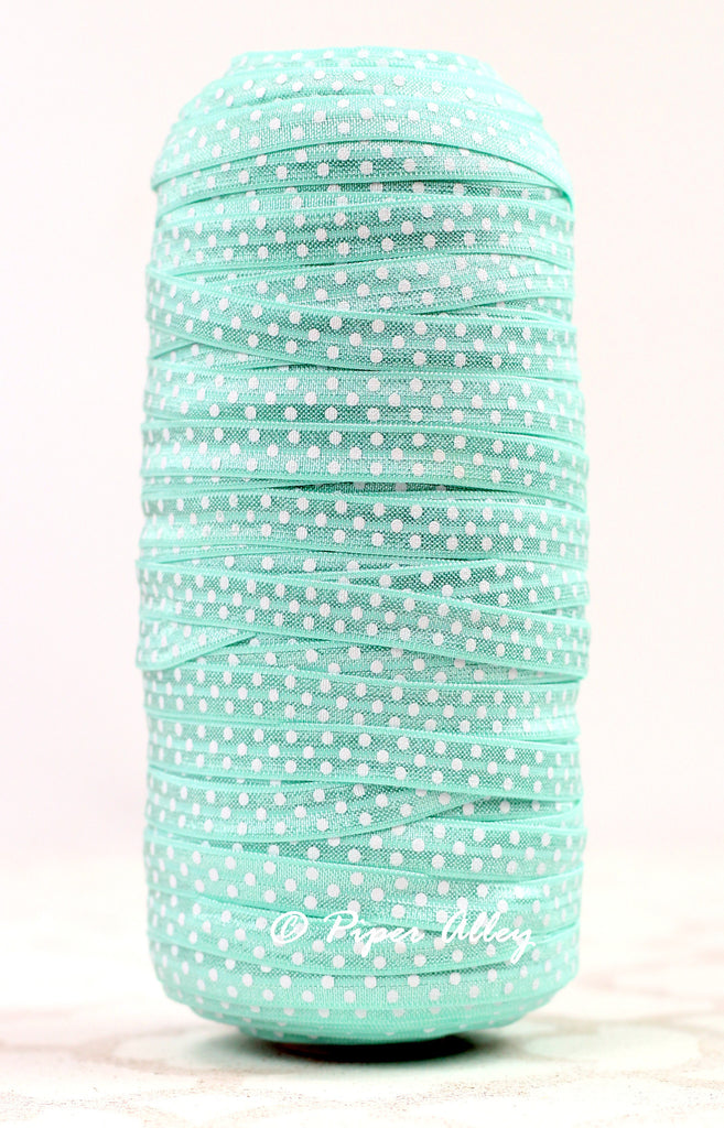 "Aqua 3/8"" Narrow FOE White Dot 5 yards"