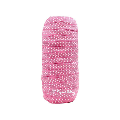 "Hot Pink 3/8"" Narrow FOE White Dot 5 yards"