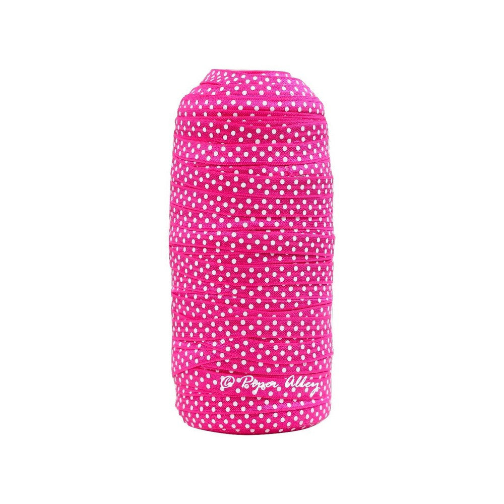 "Shocking Pink 3/8"" Narrow FOE White Dot 5 yards"