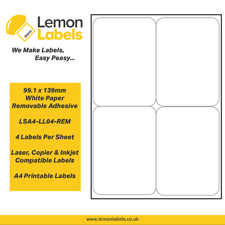 image relating to Removable Printable Labels referred to as LSA4-LL04-REM - 99.1 x 139mm White Paper With Detachable Adhesive Labels, 4 labels in the direction of an A4 sheet, 100 sheets
