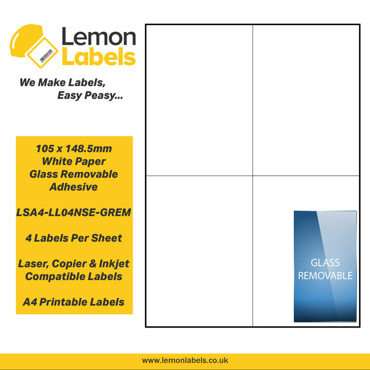graphic about Removable Printable Labels titled LSA4-LL04NSE-GREM - 105 x 148.5mm White Paper With Detachable Adhesive Labels, 4 labels towards an A4 sheet, 100 sheets