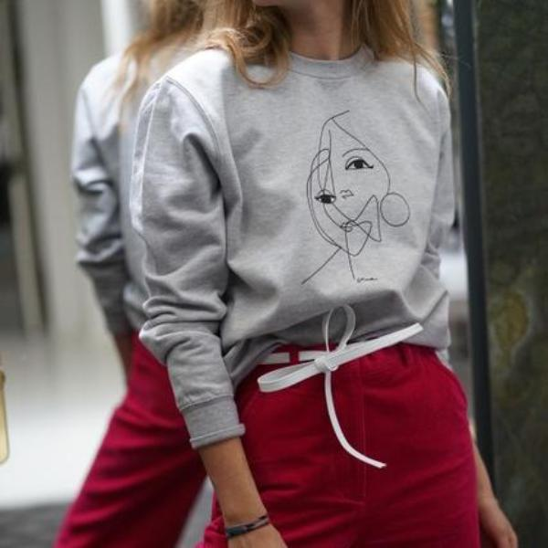 "Sweatshirt. ""Two Faces"" (gray)"