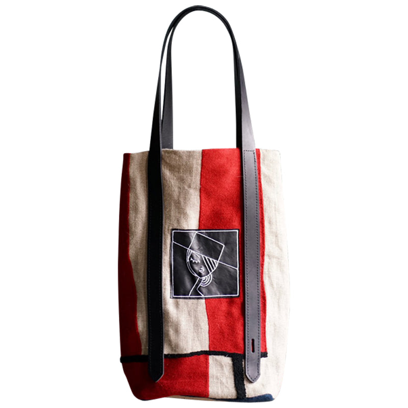 Large Tote Mondrian Style, embroidered leather patch