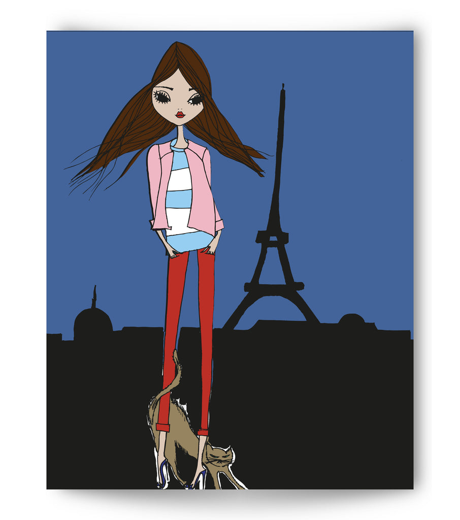 "IRMA art print ""Paris with cat"""