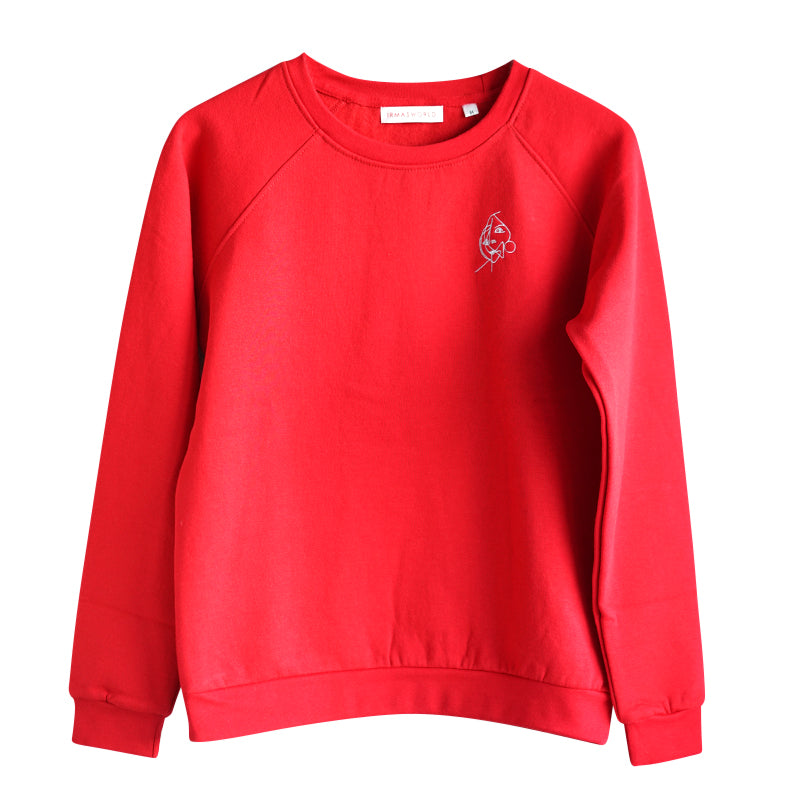 Montauk. Embroidered art sweatshirt red with illustration