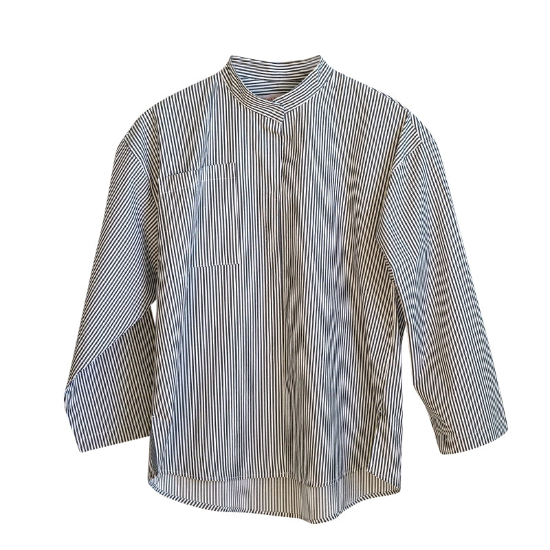 IRMA Travel Collection dark grey-white striped shirt