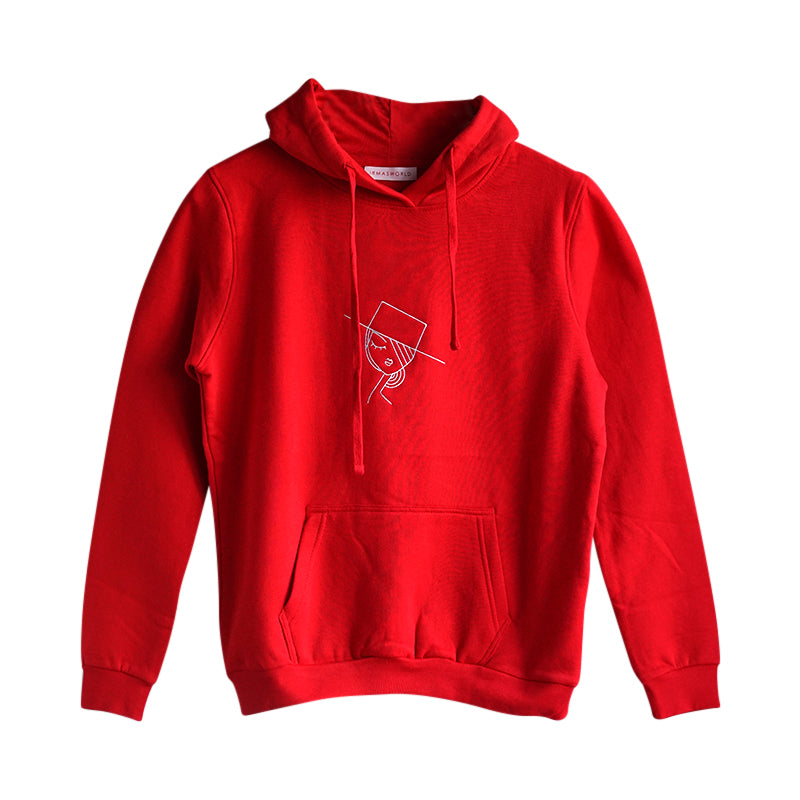 Embroidered Art Hoodie red