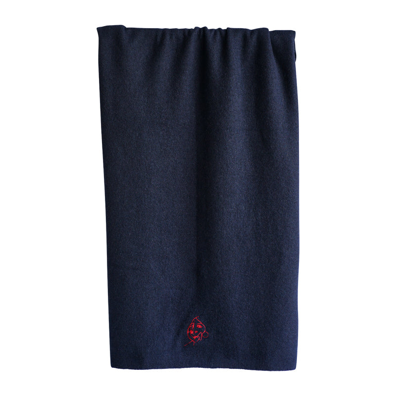 Cashmere Scarf with embroidery, navy