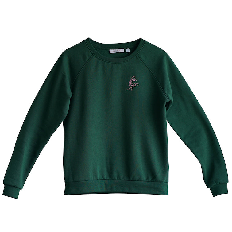 Montauk. Embroidered art sweatshirt green, pink