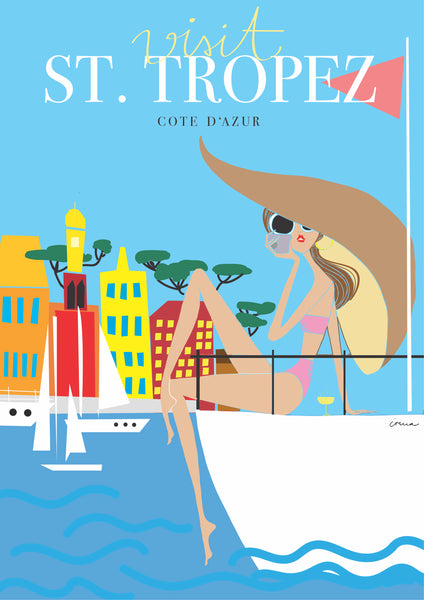 "Travel Poster ""St. Tropez"", Fernweh Collection"