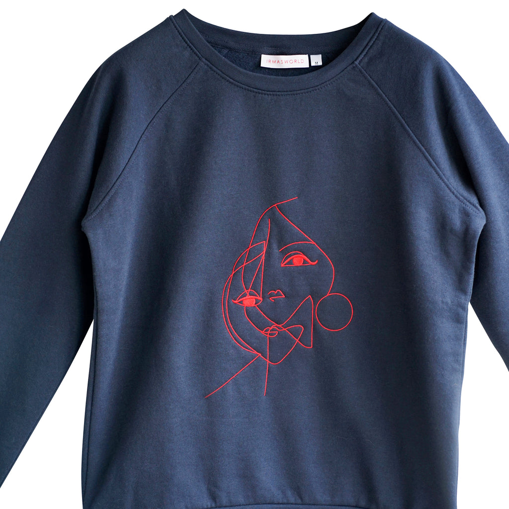 Montauk. Embroidered art sweatshirt blue/red 2