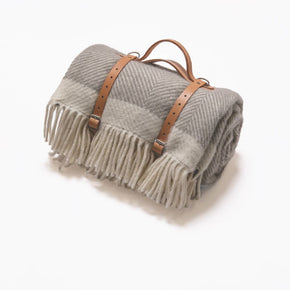 Atlantic Blankets - Picnic Blanket - Grey Herringbone