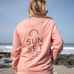 Sunset Surf Stonewash Crew Sweatshirt - Rose Clay