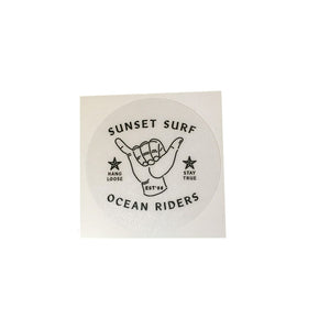 Sunset Surf Sticker - Shaka Black - Sunset Surf Shop