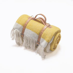Atlantic Blankets - Picnic Blanket - Yellow Herringbone