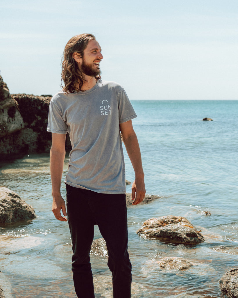 Sunset Surf Tee - Pebble Grey