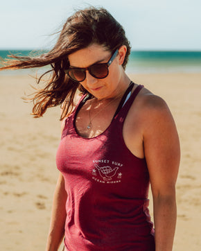 Sunset Surf Shaka Tank Vest - Cranberry