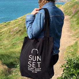 Sunset Surf Tote Bag - Black
