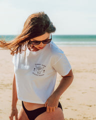 Sunset Surf Shaka Cropped Tee - White
