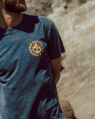 Sunset Surf Old Faithful Tee - Blue with Yellow logo