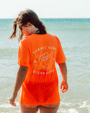 Sunset Surf Shaka Tee Unisex - Summertime Orange