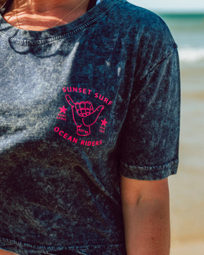 Sunset Surf Shaka Cropped Tee - Acid Wash Navy