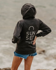 Sunset Surf Womens Hoodie - Dark Grey