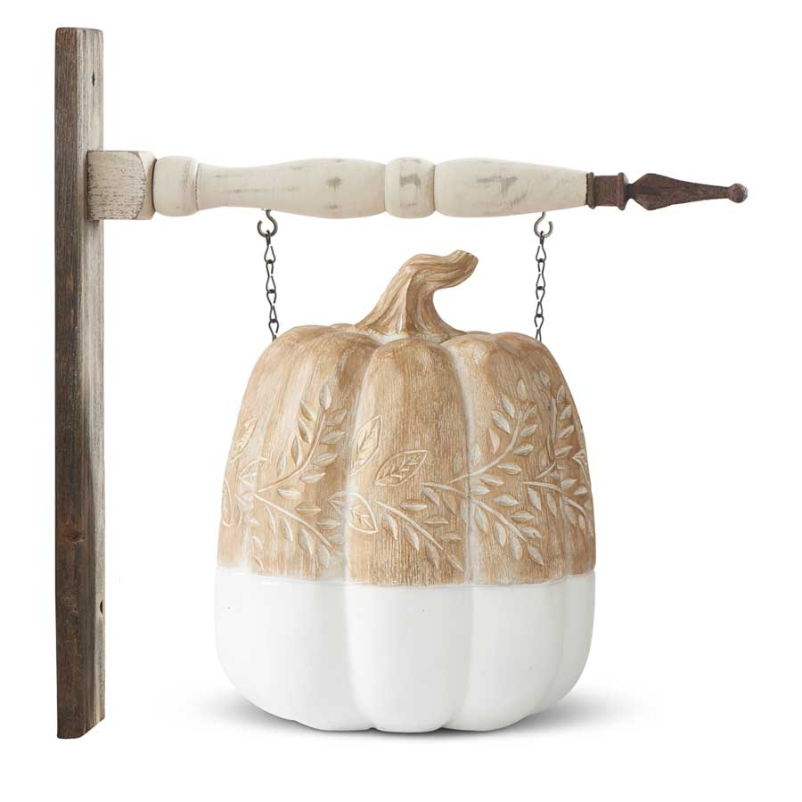 K & K Interiors Tan and White Pumpkin with Carved Leaves Hanging Ornament