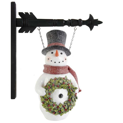 K & K  Interiors Glittered Resin LED Snowman Hanging Ornament